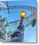 The London Eye And Street Lamp Metal Print