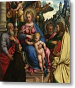The Madonna And Child With Angels Saints And A Donor Metal Print