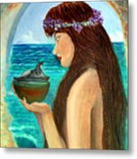 The Mermaid And The Pandora Box Metal Print by Pilar  Martinez-Byrne