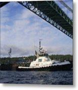 The New Tacoma Narrows Bridge - Foss Tug Metal Print
