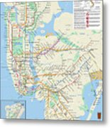 The New York City Pubway Map Metal Print