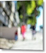 The People Walking On The Street During Day In The City Of Los A Metal Print