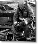 The Praying Firefighter Black And White Metal Print