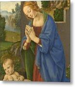 The Virgin Adoring The Child Metal Print