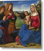 The Virgin And Child Adored By Two Angels Metal Print