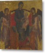 The Virgin And Child Enthroned With Two Angels Metal Print
