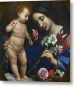 The Virgin And Child With Flowers Metal Print