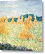 The Young Ladies Of Giverny, Sun Effect Metal Print