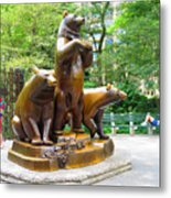 Three Bronze Sculpture Statue Of Bears Great Attraction At New York Ny Central Park By Navinjoshi Metal Print