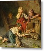 Three Children Feeding Rabbits Metal Print
