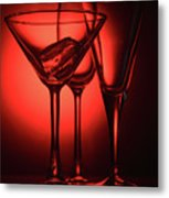 Three Empty Cocktail Glasses On Red Background Metal Print
