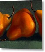 Three Golden Pears Metal Print