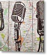 Three Microphones On Map Metal Print