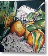 Three Oranges Metal Print