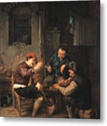Three Peasants At An Inn Metal Print