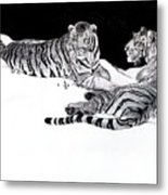 Tigers In The Snow Metal Print