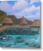 Tiki Hut Vacation Metal Print