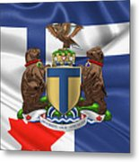 Toronto - Coat Of Arms Over City Of Toronto Flag  Metal Print