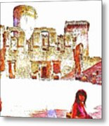 Tourists In The Castle Metal Print