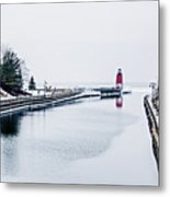 town of Charlevoix and South Pier Lighthouse on lake michigan Metal Print