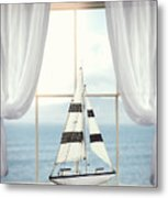 Toy Boat In Window Metal Print