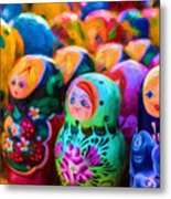 Family Of Mother Russia Matryoshka Dolls Oil Painting Photograph Metal Print