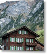 Traditional Swiss Alps Houses In Vals Village Alpine Switzerland Metal Print