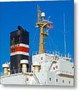 Tramp Steamer Unloading Coal At Port Canaveral In Florida Metal Print