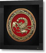 Treasure Trove - Sacred Golden Scorpion On Black Metal Print