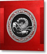 Treasure Trove - Sacred Silver Scorpion On Red Metal Print