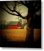 Tree And Barn Metal Print