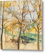 Trees In The Bois De Boulogne Metal Print