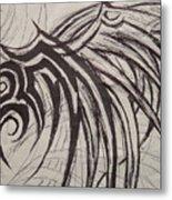 Tribal Wing Sketch Metal Print