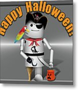 Trick Or Treat Time For Robo-x9 Metal Print
