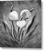 Tropical Flowers In Black And White Metal Print