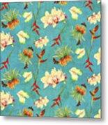 Tropical Island Floral Half Drop Pattern Metal Print