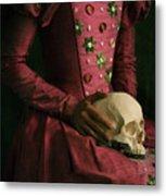 Tudor Woman Holding A Human Skull Metal Print