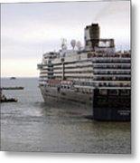 Tugboat Assisting Big Cruise Liner In Venice Italy Metal Print