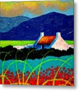 Turquoise Meadow And Poppies Metal Print