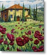 Tuscan Poppies Metal Print