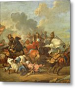Two Battle Scenes Between Christians And Saracens Metal Print