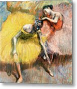 Two Dancers In Yellow And Pink Metal Print