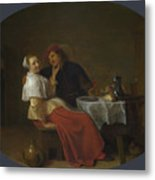 Two Lovers At Table Metal Print