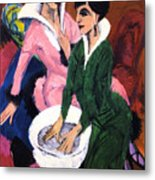 Two Women With A Washbasin Metal Print