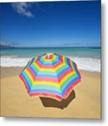 Umbrella On Beach Metal Print