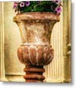 Urn With Purple Flowers Metal Print
