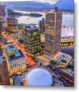 View Of Vancouver At Dusk. Metal Print