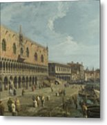 Venice   The Doges Palace And The Riva Degli Schiavoni Metal Print