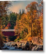 Vermont Covered Bridge Over The Dog River Metal Print