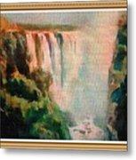 Victoria Waterfalls L B With Alt. Decorative Ornate Printed Frame. Metal Print